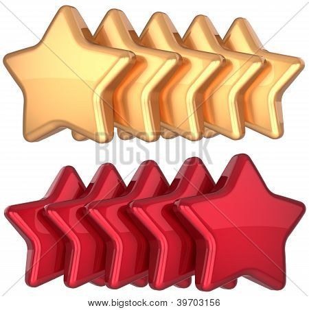 Gold fünf Sterne golden 5 Sterne service Award Erfolg rote Dekoration abstrakt