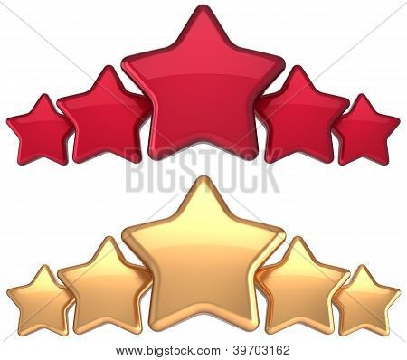 Five star service gold red golden award success decoration abstract