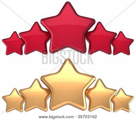 fünf-Sterne-Service gold rot-golden Award Erfolg Dekoration abstrakt