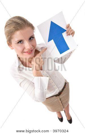 geschäftsfrau mit upside Pfeil