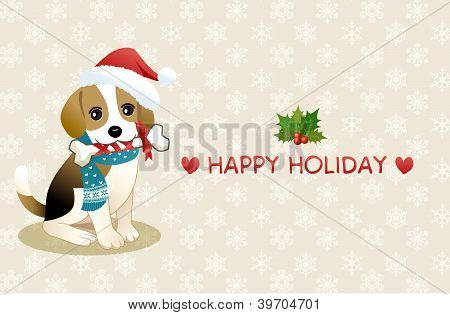 Beagle Dog Chewing Ribboned Bone With Holiday Message