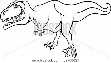 Cartoon Tyrannosaurus Dinosaur For Coloring Book