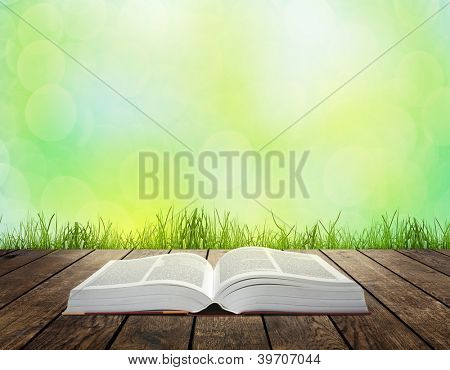 Open book on wooden plank over sunset rays. Education concept background