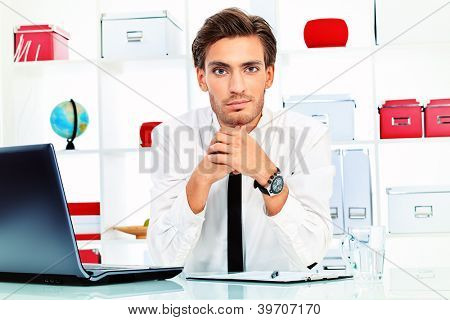 Handsome businessman is working on a laptop at the office.