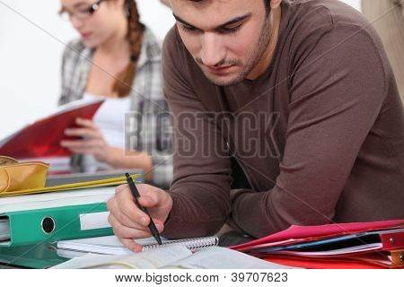University student completing assigned reading