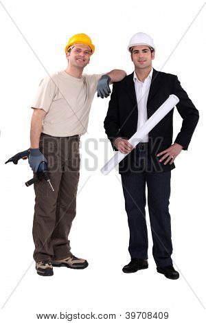 Architect stood with man holding drill