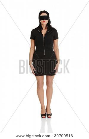 Blindfold business woman, isolated on white background