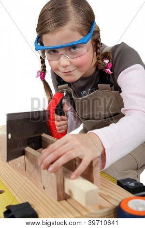 schoolgirl dressed as joiner