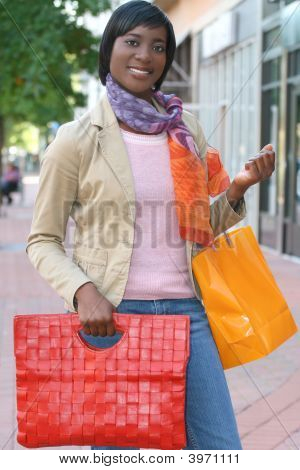 Attractive African American Female Shopping