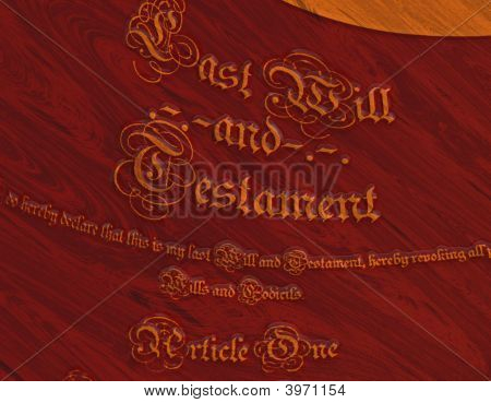 Will And Testament In Wooden Inlay