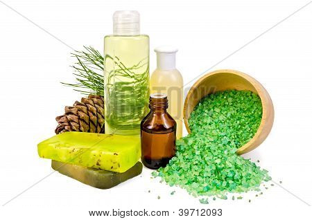 Oil With Toiletries And Cedar Cones