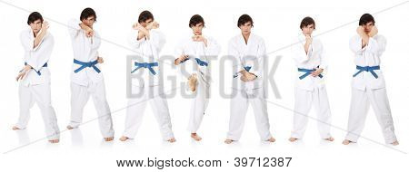 Set of man in a kimono practicing karate , isolated on the white background
