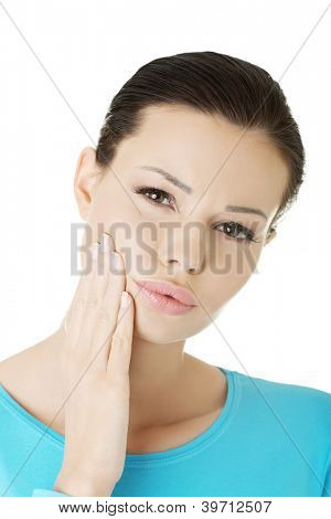 Woman with toothache , isolated on white