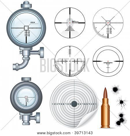 Cross hairs Set. Illustrations of Sniper Target Scopes, Optic Sight, Cross hairs, Target and Bullet Holes. Isolated on White Background