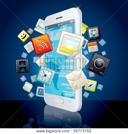 White Smart Phone with Cloud of Media Application Icons. Vector Image.