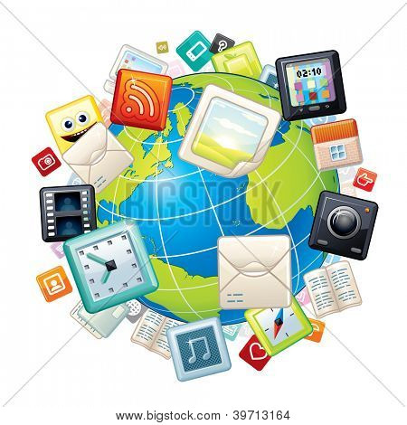 Apps Icons Flying Around the World. Vector Concept