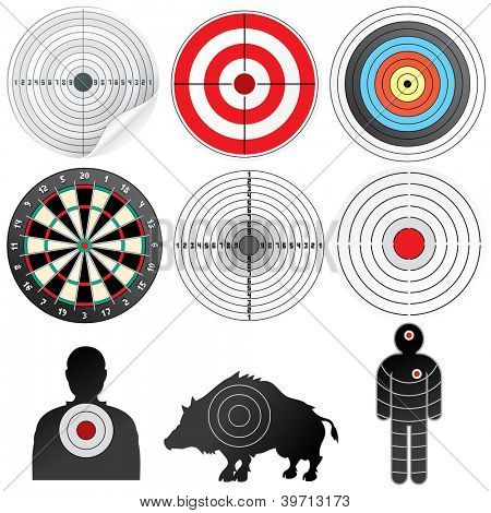 Vector Targets Set. Illustration of Paper Target, Archery Target, Darts board, Range Target, Human and Wild Boar Dummy