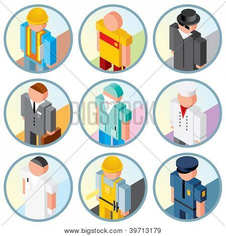 Collection of People Occupations Icons. Isometric Vector Illustrations