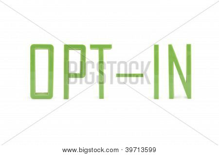 Inscription Opt-in With Green 3D Letter