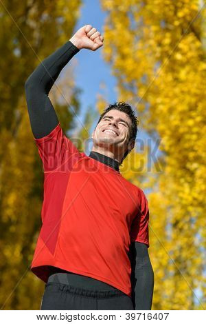 Male Athlete Celebrating Victory