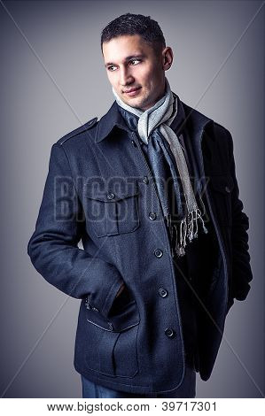 Young Sexy Man In Casual Black Coat
