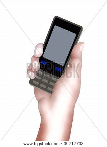 Person Hand Using A Generic Cellular Phone