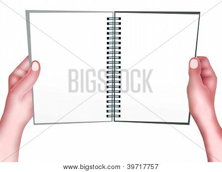 Hand Holding A Yellow Color Of Spiral Notepad