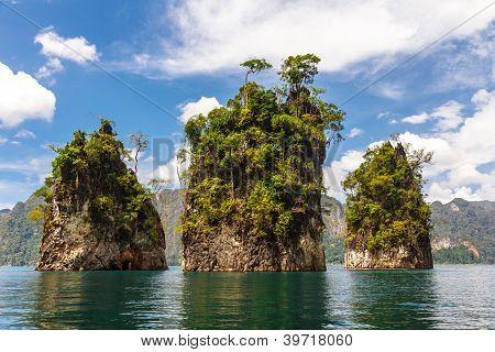 Three Rocks In Cheow Lan Lake
