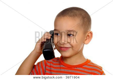 Kid Talking On Cordless Phone 5 Years Old