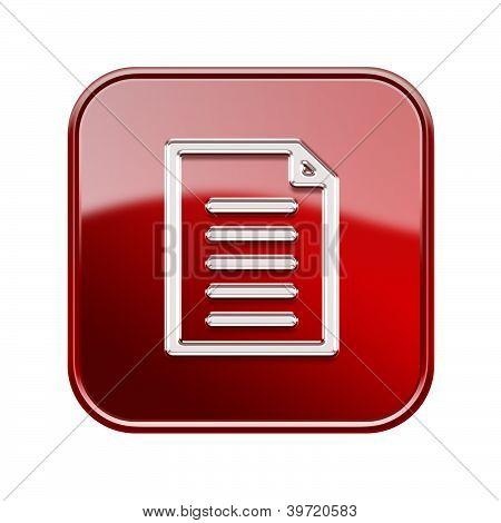 Document Icon Glossy Red, Isolated On White Background