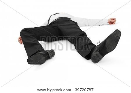Businessman lay on the ground