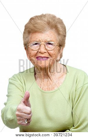 Elderly Woman Showing Thumbs Up.