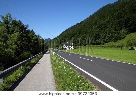Road And Bicycle Path
