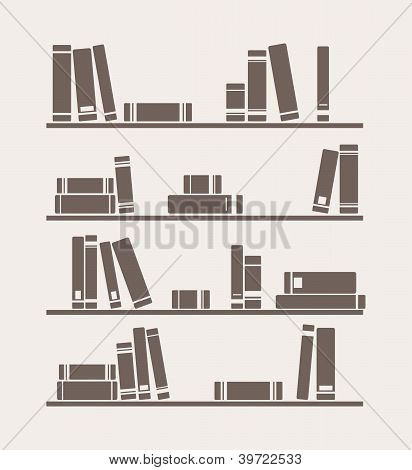 Books on the shelf vector retro illustration.