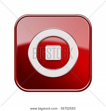 Stop Icon Glossy Red, Isolated On White Background
