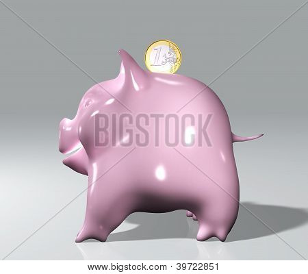 Piggy With One Euro
