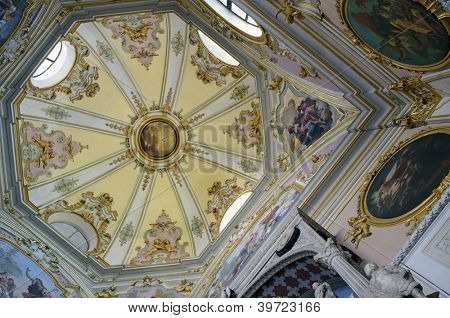 BERGAMO, LOMBARDY, ITALY - MAY 29: Interior of Cappella Colleoni. The Cappella Colleoni (Colleoni Chapel) is a church/mausoleum in Bergamo, northern Italy. May 29, 2011 in Bergamo, Lombardy, Italy