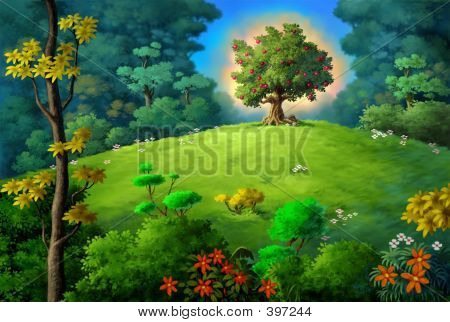 Forest With Apple Tree