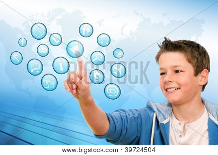 Boy Pointing At Web Icons With Futuristic Interface.