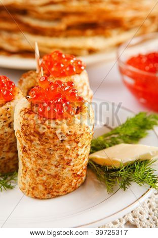 Rolled Russian Pancakes With Salmon Caviar