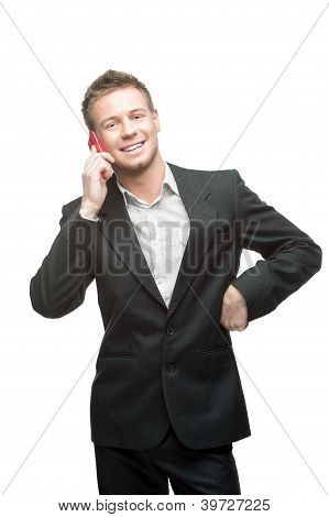 businessman holding pink cell phone