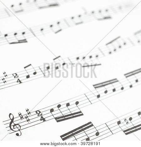Old Printed Music Sheet Or Score And Musical Notes