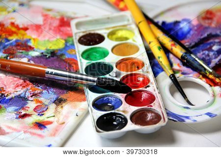 Art Palette And Watercolors