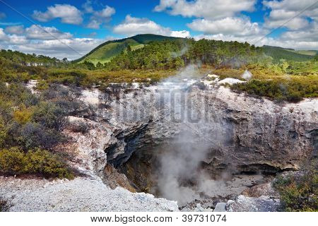 Volcanic crater in Wai-O-Tapu thermal area, New Zealand
