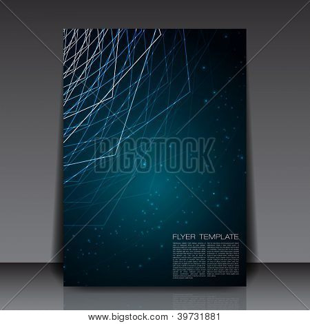 Blue Abstract Lines Flyer Template | EPS10 Vector Design