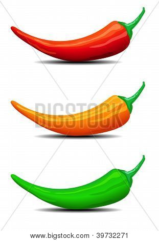 Three Chillies, Peppers, Illustration