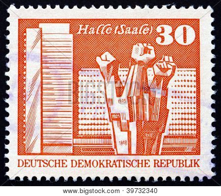 Postage stamp GDR 1973 Worker's Memorial, Halle