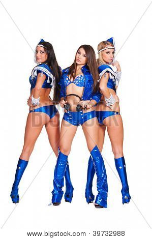 three beautiful go-go dancers in blue stage costumes isolated on white