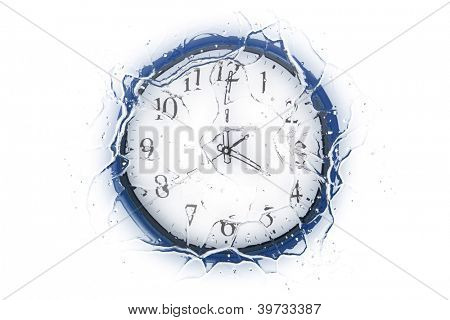 A frozen clock showing 4 o'clock. Isolated on a white background.