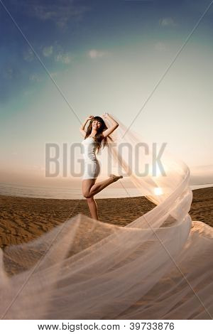 Beautiful bride in a short dress with a long veil on the beach at sunset